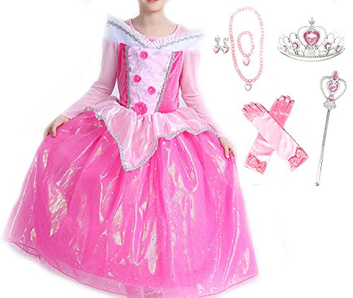 Romy's Collection Princess Aurora Deluxe Pink Party Dress Costume (4-5, Style2) by Romy's Collection