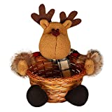Candy Basket,Fashion Cute Christmas Bamboo Vine Cookie Holder Decorations for Festival Holiday Party Children Kids Gift Reindeer
