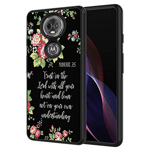 Moto E5 Plus Case, Moto E5 Supra Case,AIRWEE Slim Shockproof Silicone TPU Back Protective Cover Case for Motorola Moto E5 Plus 2018,Bible Verse Proverbs 3:5 Trust in The Lord with All Your