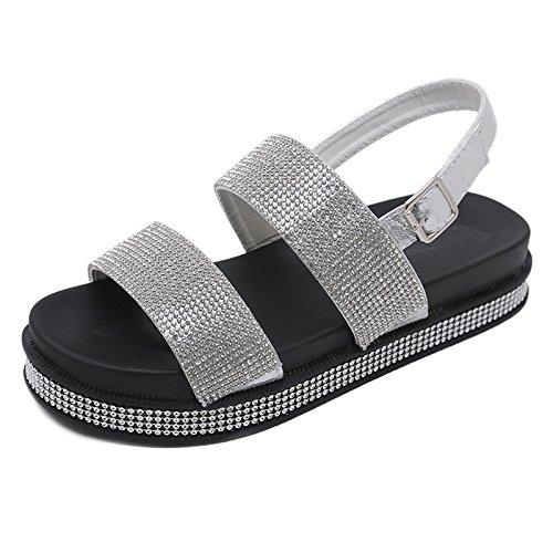 del pie Ocasional YMFIE abren de Diamantes Verano Playa Vacaciones Antideslizantes Dedo de cómodos de al Sandalias Los imitación del Manera black del Aire la Libre Las la Zapatos 88qraw