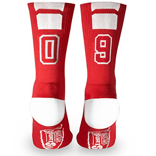ChalkTalkSPORTS Athletic Half Cushioned Crew Socks  Mid Calf  Red  Team Number 09 or 90,One Size Fits Most