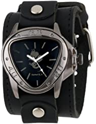 Nemesis Mens LBB928S Ion-Plated Stainless Steel Watch with Black Leather Cuff