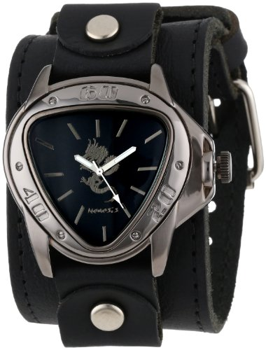 Nemesis Men's LBB928S Ion-Plated Stainless Steel Watch with Black Leather Cuff