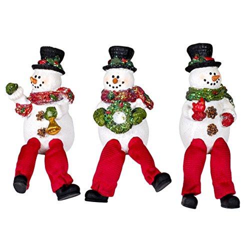 Happy Christmas Snowmen 5.5 Inch Resin Dangle Leg Shelf Sitter Figurines Set of 3 (Sitters Christmas Shelf)