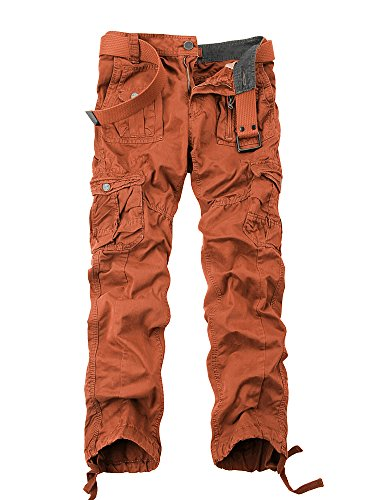 OCHENTA Men's Cotton Washed Multi Pockets Military Cargo Pant #3380 Orange 33 (Mask Psycho Borderlands)