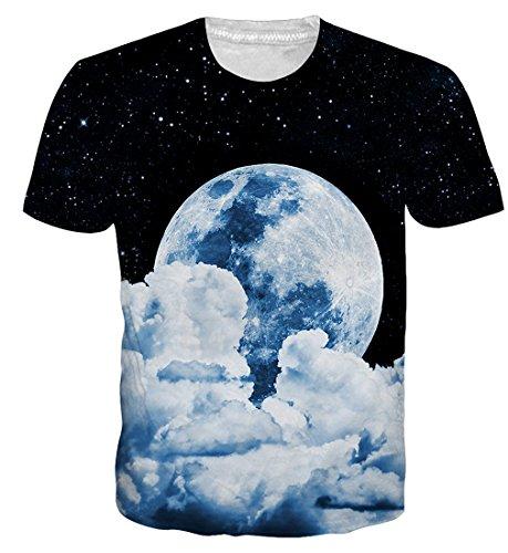 Unicorn Moon T-shirt - Goodstoworld 3D White Moon Galaxy Printed T Shirt for Men Women Summer Casual Short Sleeve Tshirt Tee Tops Clothing Medium