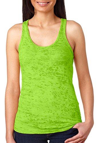 Next Level Women's Burnout Baby-Rib Collar Racerback Tank, Neon Green, Small