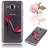 samsung galaxy grand prime g530 case, Sunroyal Colorful Slim Floral Crystal TPU Transparent Back Cover Case (Red High-heeled Shoes) Free Pink Camellia Bling Dustproof Pendant