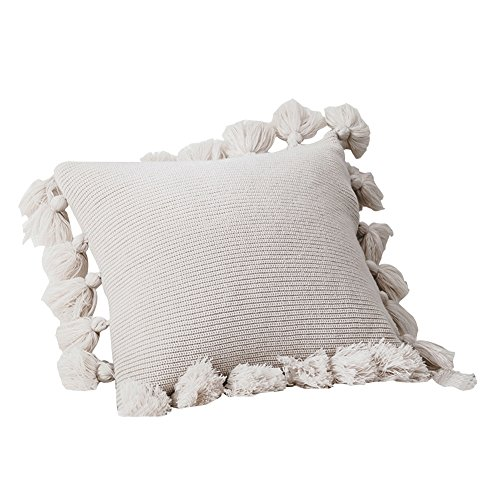 DOKOT Knit Boho Pillow Covers, Handwoven Decorative Throw Pillow Covers with Pompoms Tassels, 18x18 inches, Beige ()