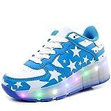 edv0d2v266 LED Light Sneakers with Wheel Boy Girl Roller Skate Casual Shoe Girl Light up Roller Skates Sport Shoes (Sky Blue 1wheels 12.5 M US Little Kid = EU 30)
