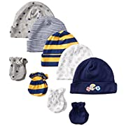 Gerber Baby-Boys Newborn 5 Pack Caps (0-6 months) and 4 Pack Mitten (0-3 months) Bundle,All Star,Newborn