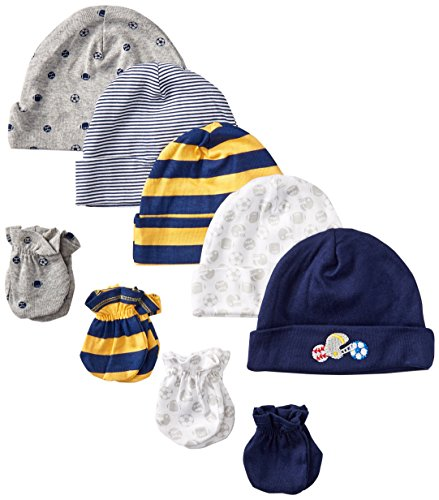 gerber-baby-boys-newborn-5-pack-caps-0-6-months-and-4-pack-mitten-0-3-months-bundleall-starnewborn