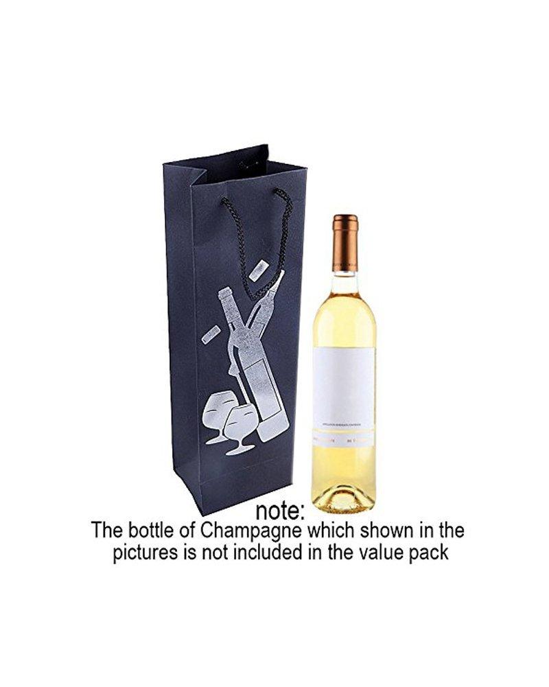cena color Foil Bolsas de regalo para botellas de vino inauguraci/ón de la casa 12 unidades con asas para aniversario cumplea/ños