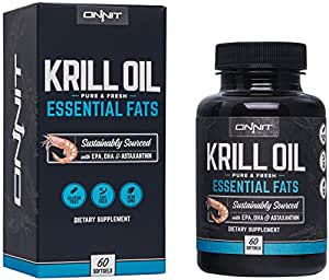 Onnit Krill Oil - Extra Strength Antarctic Krill Oil with Omega 3 DHA and EPA, Astaxanthin and Essential Phospholipids (60ct)
