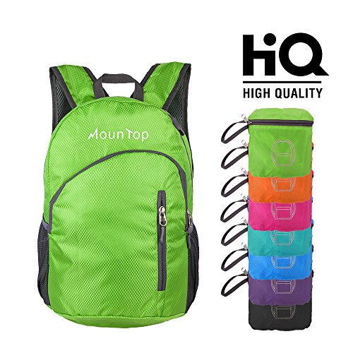 - mountop Ultra Lightweight Foldable Packable Durable Travel Hiking Backpacks Daypacks 20L Green