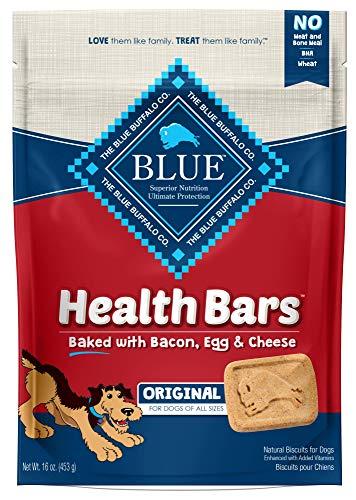 - Blue Buffalo Health Bars Natural Crunchy Dog Treats Biscuits, Bacon, Egg & Cheese 16-oz bag.