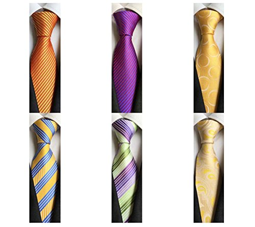 (WeiShang Lot 6 PCS Classic Men's 100% Silk Tie Necktie Woven JACQUARD Neck Ties (Style 15))