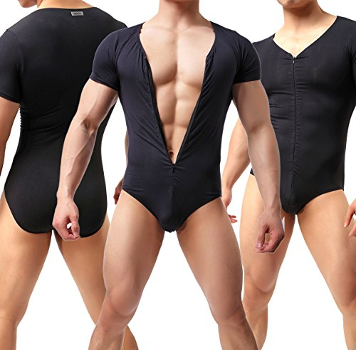 Ykeke Men's Sexy Modal Zipper Elastic Bodysuit Leotard Shaping Freestyle Wrestling (Black, M) by Ykeke