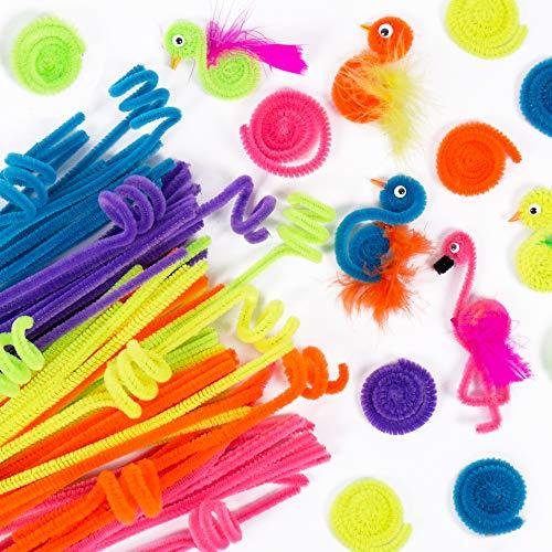 Horizon Group USA Neon Fuzzy Sticks. Pipe Cleaner, Bendi Sticks, Chenille Stem- 200 Pack, Neon