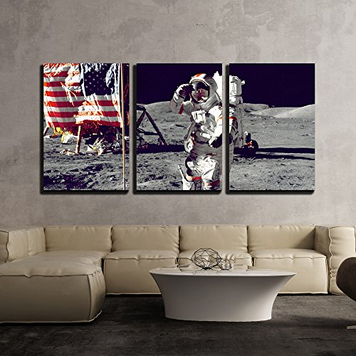 wall26 - 3 Piece Canvas Wall Art - Astronauts on the Moon - Modern Home Decor Stretched and Framed Ready to Hang - 16