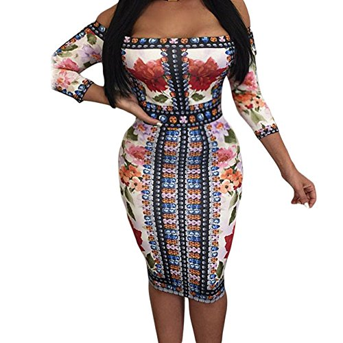 SEBOWEL Diamond Floral Print Off Shoulder Midi Dress Tight Bodycon (Diamond Dresses For Women)
