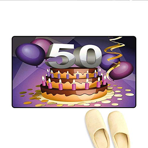 Bath Mat Creamy Cake with Many Candles and Numbers Balloons Ribbons Art Print Floor Mat Pattern Purple Gold Grey 20