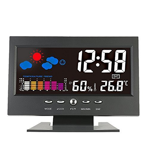 KKmoon °C/°F Multifunctional Indoor Colorful LCD Digital Temperature Humidity Meter Weather Station Clock Thermometer Hygrometer Comfort Level Weather Forecast Vioce-activated Backlight with USB Cable