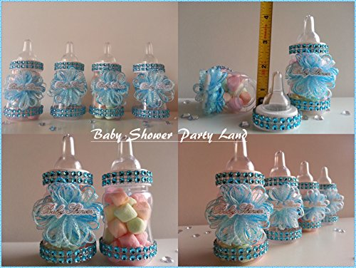 12 Blue Fillable Bottles for Baby Shower Favors Prizes or Games Boy -