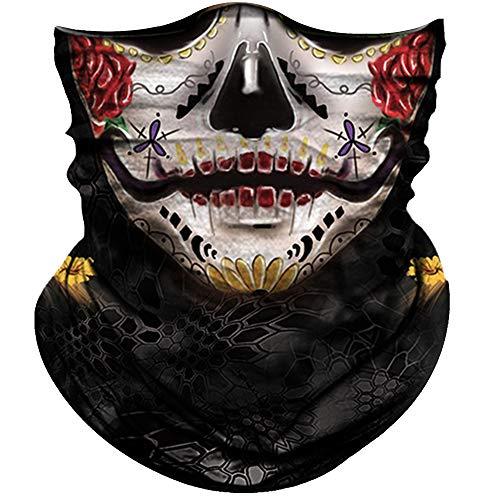 Skull Face Mask for Women Men Dust Wind UV Sun Protection Seamless Bandana Face Mask for Rave Festival Motorcycle Riding Biker Fishing Hunting Outdoor Running 3D Tube Mask (Purple Eyes Red Lip Women)