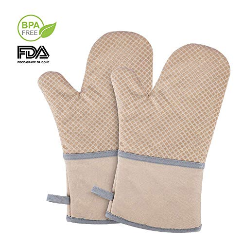 Echeer Heat Resistant Oven Mitts Silicone and Cotton Infilled, 570 ℉ Kitchen Potholders Gloves, Recycled Cotton Terrycloth Lining Mitts 2 ()