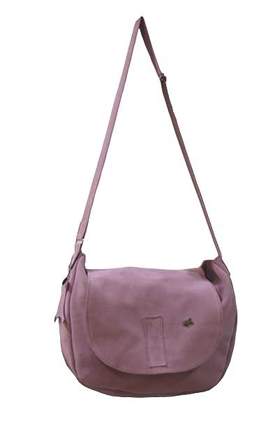 3b3e65516 La Auténtica BAG3 - Bolso bandolera serraje afelpado rosa bebé: Amazon.es:  Zapatos y complementos