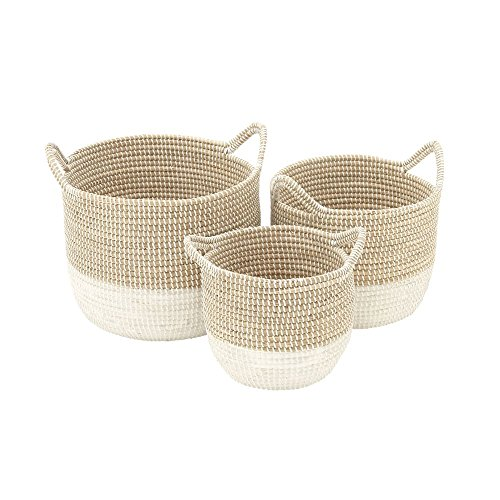 (Storage Seagrass Basket with Hanles - Set Of 3)