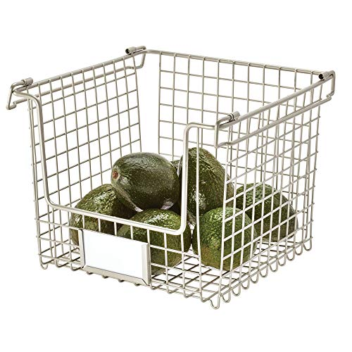IDesign Wire Storage, Large Metal Basket for Bathroom, Office, Stackable Kitchen Organiser with Handles, Silver, 25.4 cm x 25.4 cm x 19.7 cm