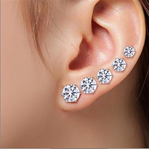 Stud Earrings Set for Women, Staron 5Pairs/Set Women's Fashion Geometric Crystal Wedding Elegant Earring Jewelry Sets (White) (Glitter Yellow 14k Gold)