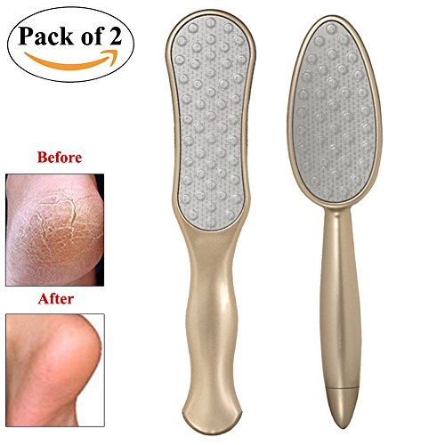 File Champagne (Professional Colossal Pedicure Rasp Foot File Callus Remover with Comfortable Handle from Lesirit (C+D, Champagne Gold))