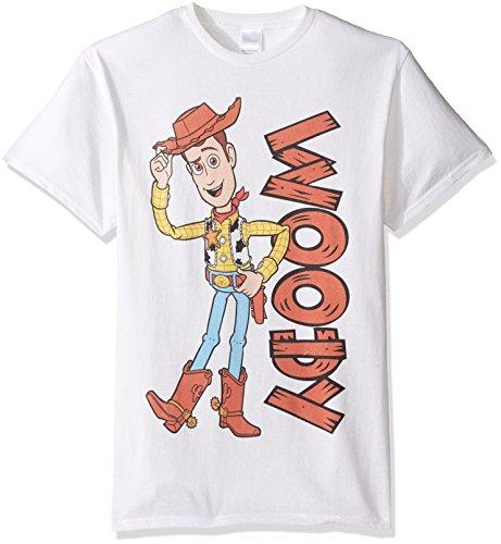 Disney Men's Toy Story Woody T-Shirt, White, Large -