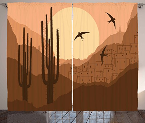 Lunarable Country Curtains, Wild Desert Canyon Mexican Town Sundown Hot Weather Swallow Silhouette, Living Room Bedroom Window Drapes 2 Panel Set, 108 W X 84 L Inches, Brown Burnt (Canyon High Country Rug)
