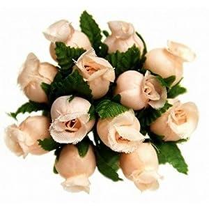 144 Miniature Poly Rose Silk Favor Flower Pick Wedding Shower - Peach 69
