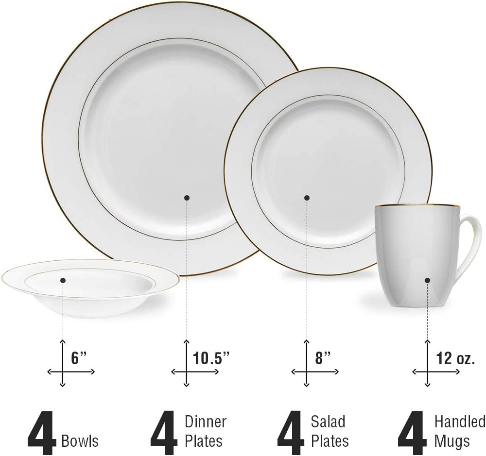 Stone Lain Round 2+1 mm Golden Line 16 Piece Dinnerware Set Service for 4 Bone China White
