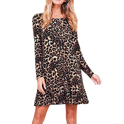 kaifongfu O Neck Leopart Print Women Dress Long Sleeve Dress for Party(Brown,XL)