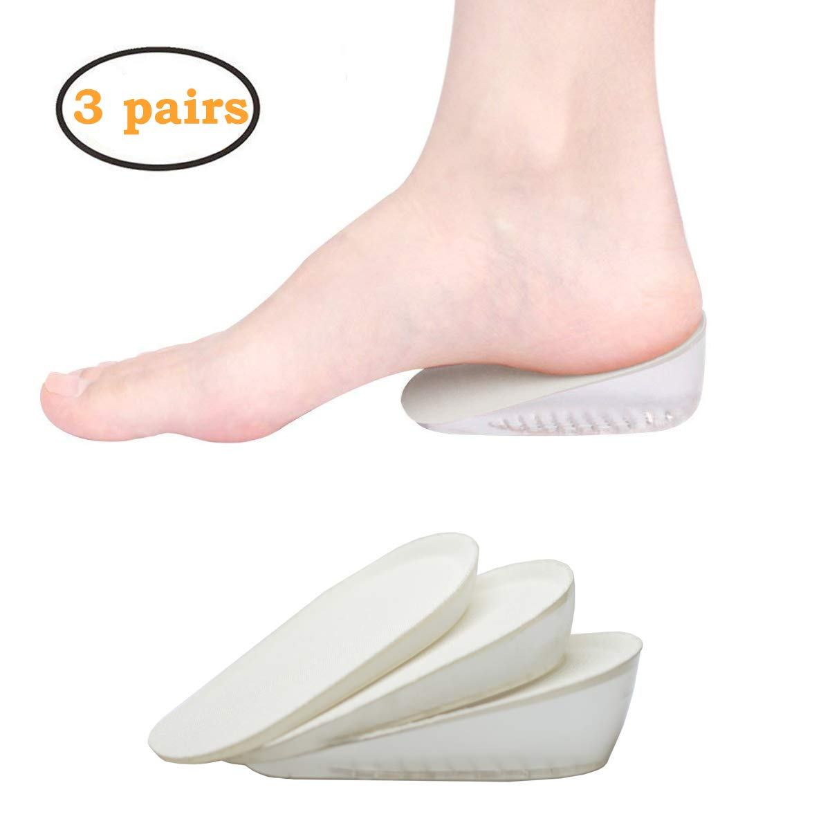 Height Increase Insole, 1cm 2cm 3cm Heel Lift Inserts, Gel Heel Cups Support Cushion Pads Shoe Insoles Inserts for Women to Relieve Heel Pain-3 Pairs by YIVAN