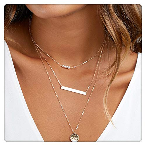 (SEAYII Women Pearl Choker Necklace Gold 3 Layered 4 Pearl Bar Full Moon Coin Disc Double Side Hammered Pendant 14K Gold Fill Dainty Chain Boho Simple Delicate Handmade Gold Jewelry Gift)