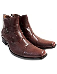 """NEW """"DELLI ALDO"""" MENS STYLISH ANKLE BOOTS LEATHER ZIPPERED BUCKLE STRAPS COMFORT DRESS SHOES-M606001PL /BROWN"""