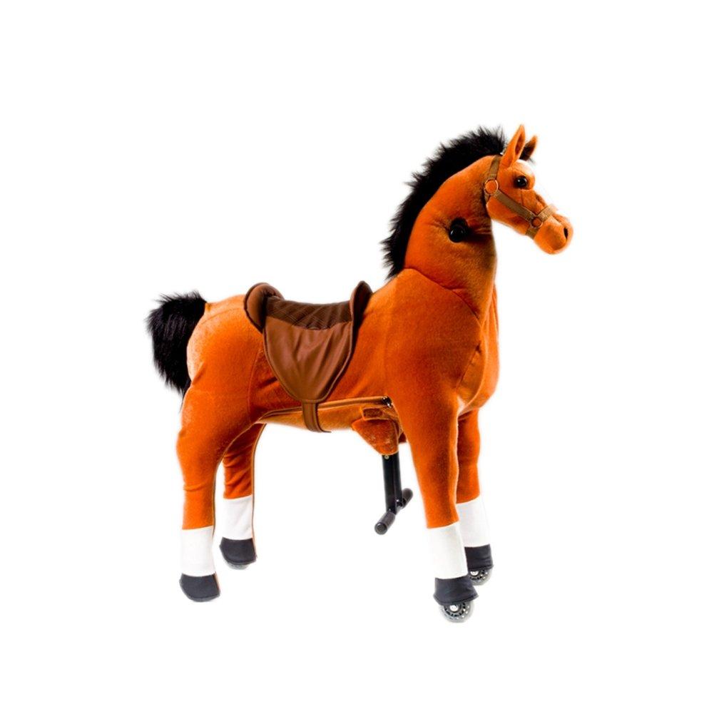 Magic Prince Schaukel Spielzeug Reiten Auf Tier Mit Rädern Und Fußstütze für Kinderfahrzeuge (medium, Orange Pferd)