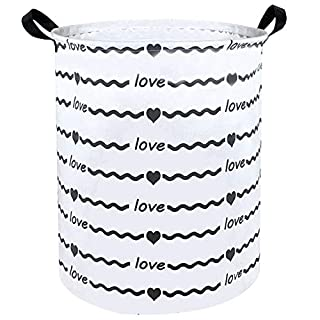 Sanjiaofen Large Storage Bins,Canvas Fabric Laundry Basket Collapsible Storage Baskets for Home,Office,Toy Organizer,Home Decor (Grey Wave Love)