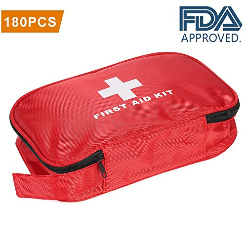 WGIA 180 Pieces First Aid Kit - Professional Medical Emergency Kit for Home, Camping, Hiking, Sports, Car, Workplace, Office, Survival & Traveling (First Professional Aid)