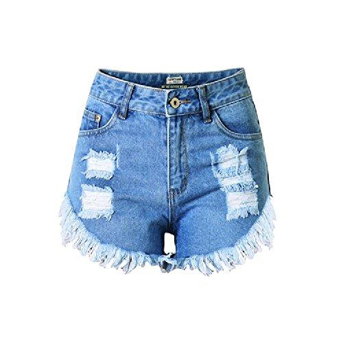 WENJHEN - Vaqueros - Cintura Alta - para mujer azul claro