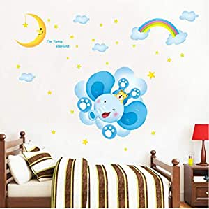 Elephant Moon Clouds And Stars Wall Decal Sticker For Home Children's Bedroom