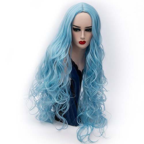 Alacos Synthetic 80CM Long Curly Center Parting Daily Basic Christmas Party Cosplay Costumes Wigs for Women+ Free Wig Cap (Bright Sky Blue) - Father Sky Costume