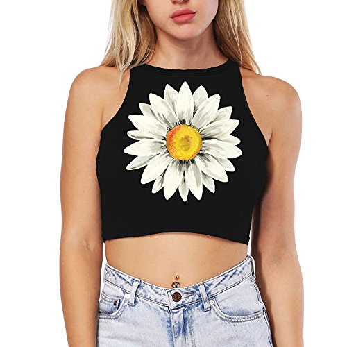 - Ancia Womens Girls Teens High Neck Tank Tops Crop Top Sexy T-Shirt(Daisy)